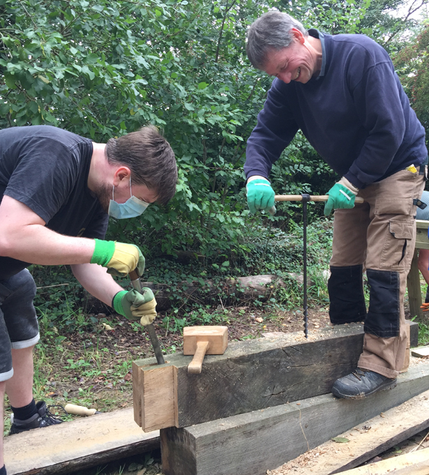 Traditional timber framing course at Orchard Barn