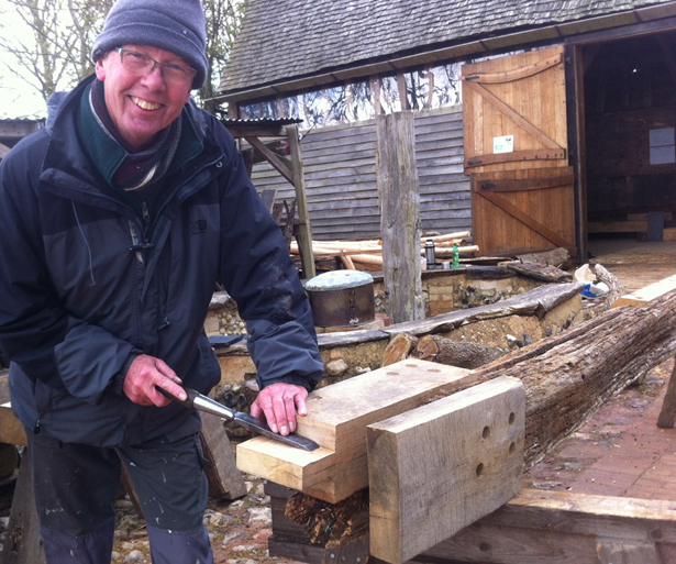 Brian repairs 500 year old jowl post