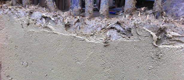 Clay render applied to wattle and daub