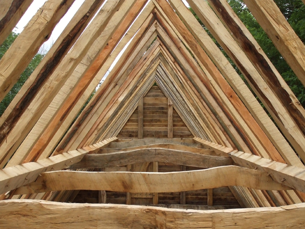 hand cut oak roof frame at Orchard Barn