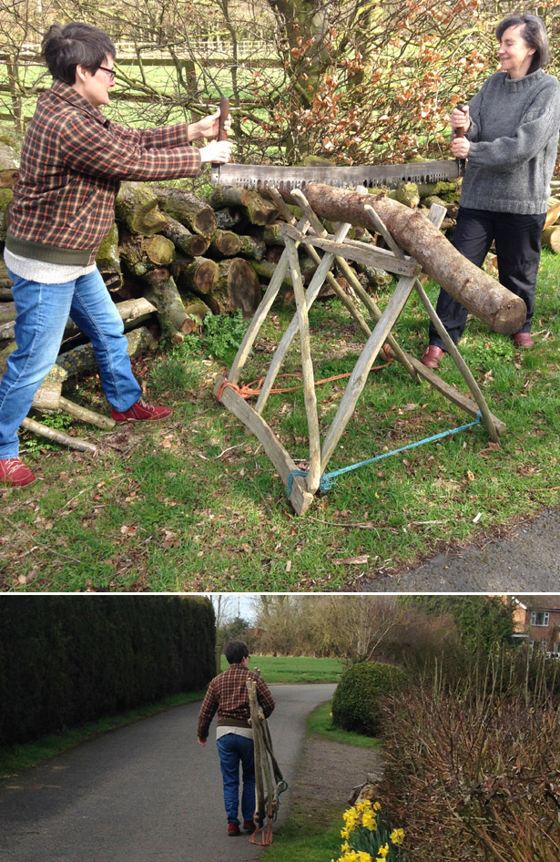folding saw horse from cleft timber