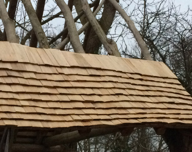 roundwood roof rafters and handcleft shingles